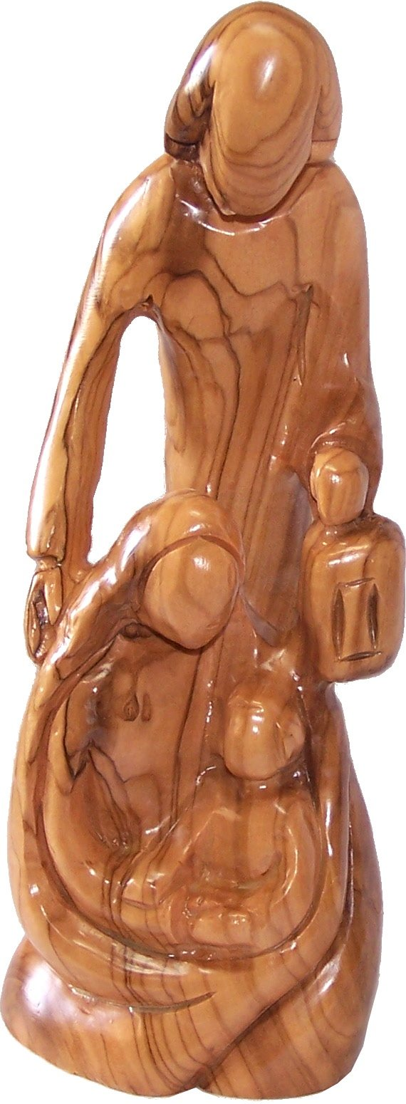 Holy Land Market Olive Wood Holy Family Statue (7.9 Inches)
