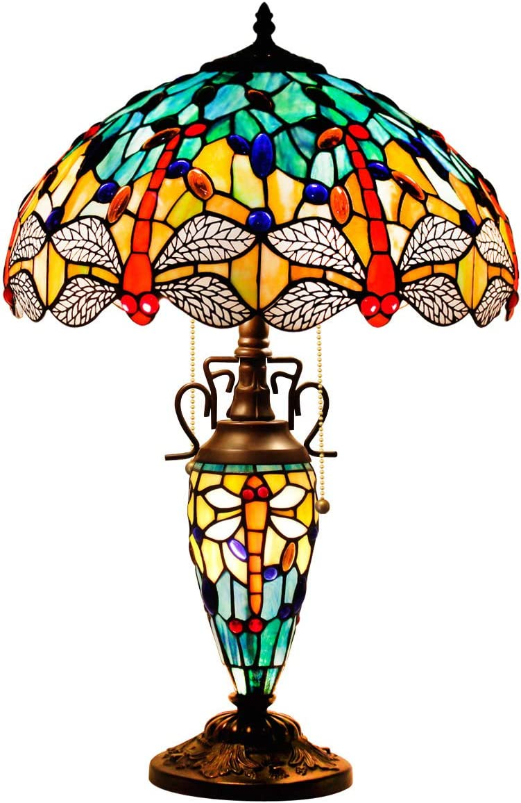 Tiffany Style Table Lamp 24 Inch Tall Sea Blue Yellow Stained Glass Dragonfly Shade 2E26 1E12 Bulb Desk Glass Night Light Base for Living Room Coffee Table Bedroom S128 WERFACTORY