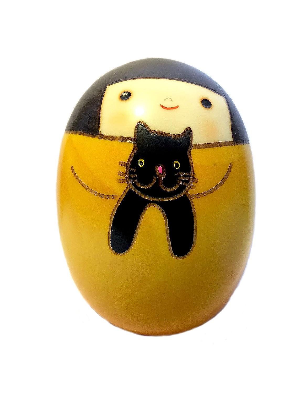 giapponese Kokeshi Doll–Handmade in Japan–Neko no Kuro–CAT Oriental Direct Ltd