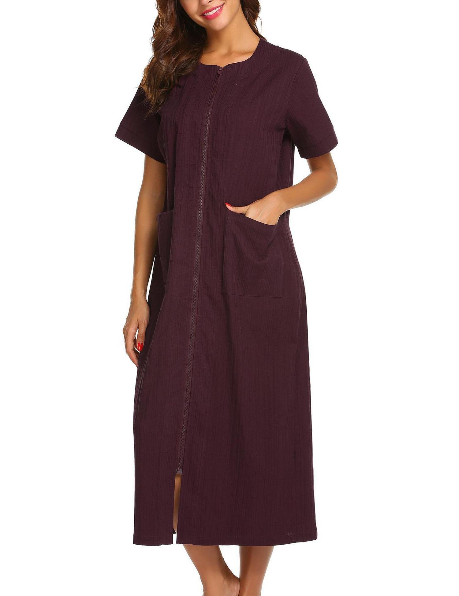Vansop Classic Style Long Straight Zip-up Sleepwear Nightwear with Maximum Airflow