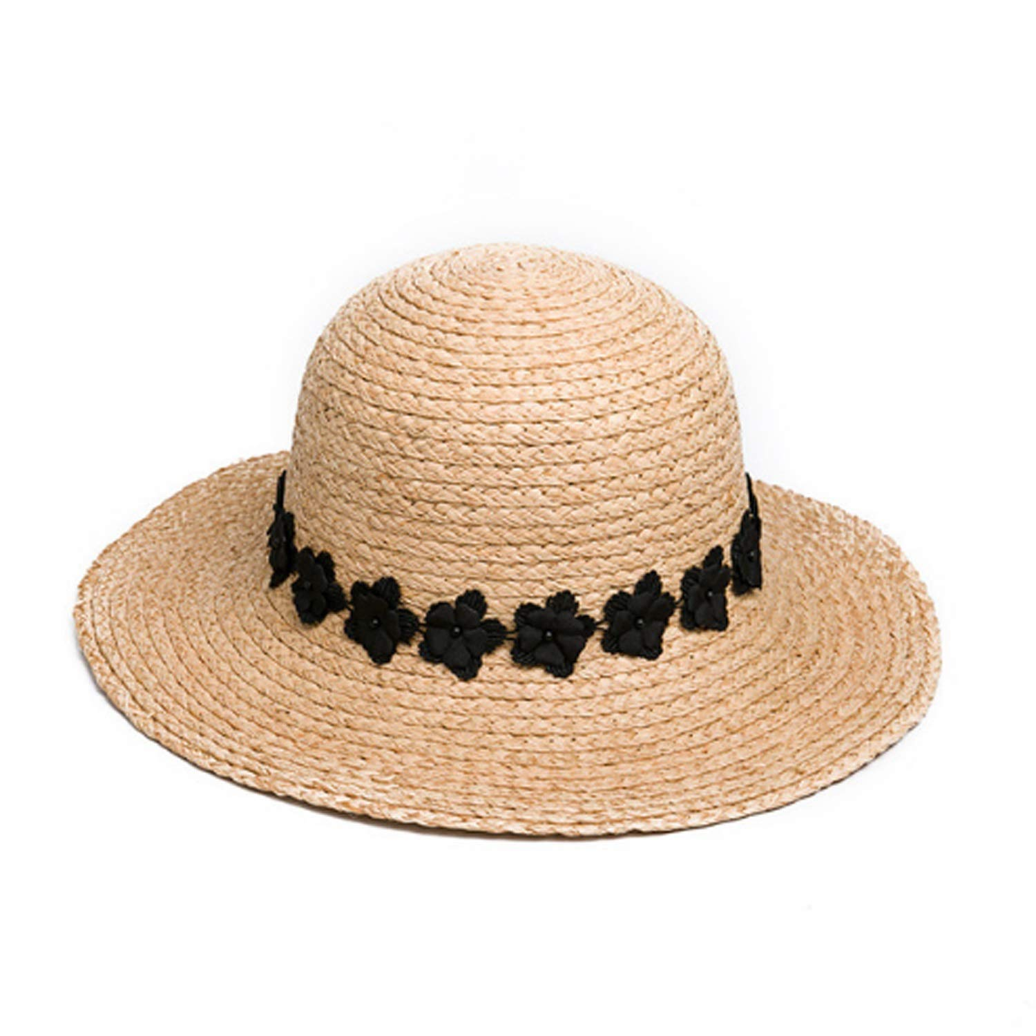 Hat SpringSummer New Product Hat Fashion Shade Sunscreen Lafite Straw Hat Woman (color   Natural, Size   M)