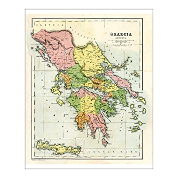 photo relating to Printable Map of Ancient Greece identify : 10x8 Print of Antique map of Historic Greece