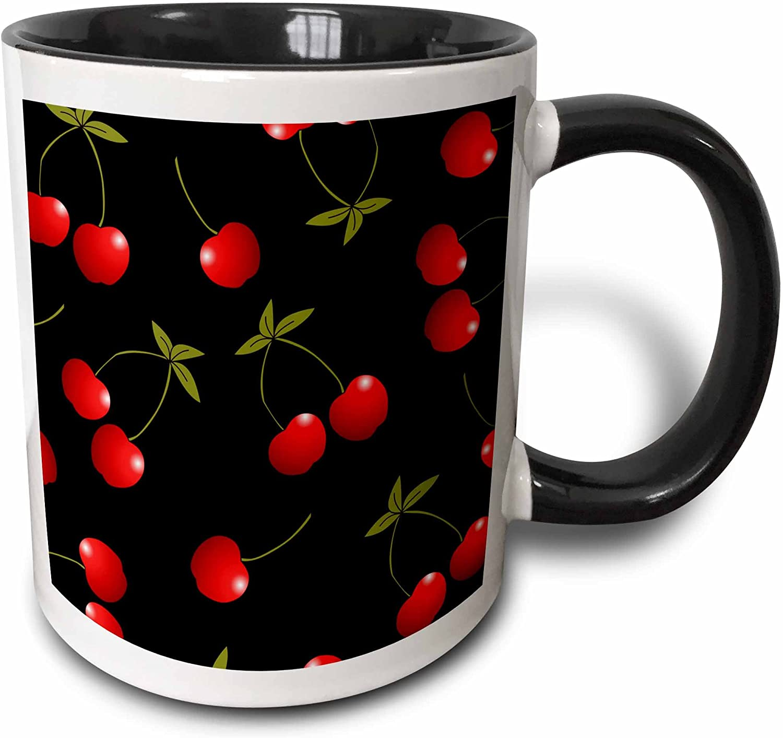 3dRose Print Juicy Red Cherries Two Tone Black Mug, 11 oz, Multicolor