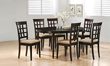 7pc Casual Dining Table Chairs Set Contemporary Style Cappuccino Finish