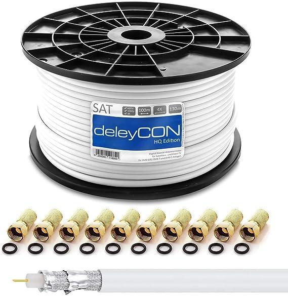 deleyCON HQ 100m Cable Coaxial Sat 130dB Blindado de 4 Capas DVB-S ...
