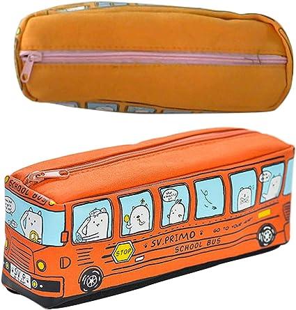 Artiliy - Estuche para lápices de dibujo animado (lona, gran capacidad, con cremallera), diseño de dibujos animados, color naranja 19.5 * 6.5 * 6cm: Amazon.es: Oficina y papelería