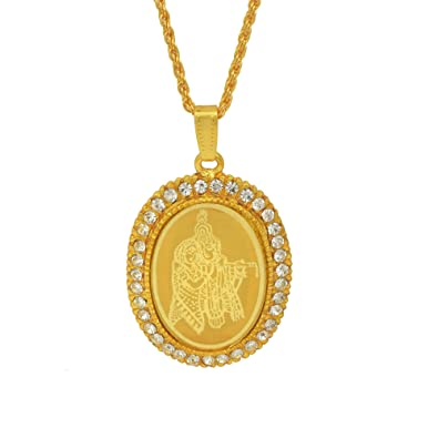 e3846849edbc5 Memoir Gold Plated CZ American Diamond, Radha Krishna Image Embossed Oval  God Pendant Locket, Chain Necklace Temple Jewellery for Men Women Boys Girls