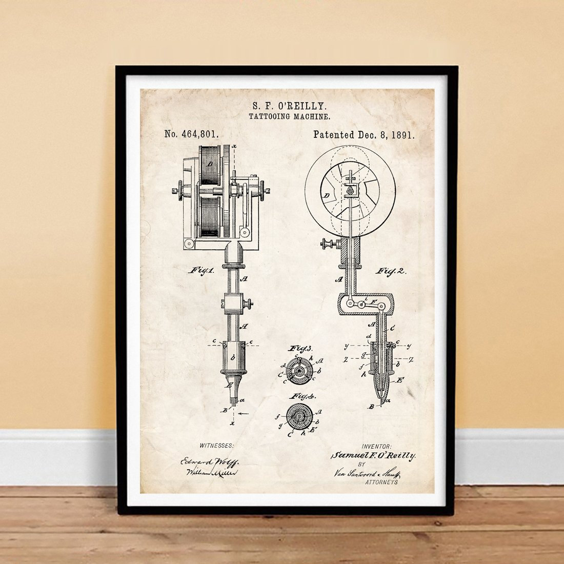 "Amazon.com: TATTOOING MACHINE INVENTION PATENT ART PRINT TATTOO O'REILLY  INK BODY ART 1891 GIFT UNFRAMED (5"" x 7""): Posters & Prints"