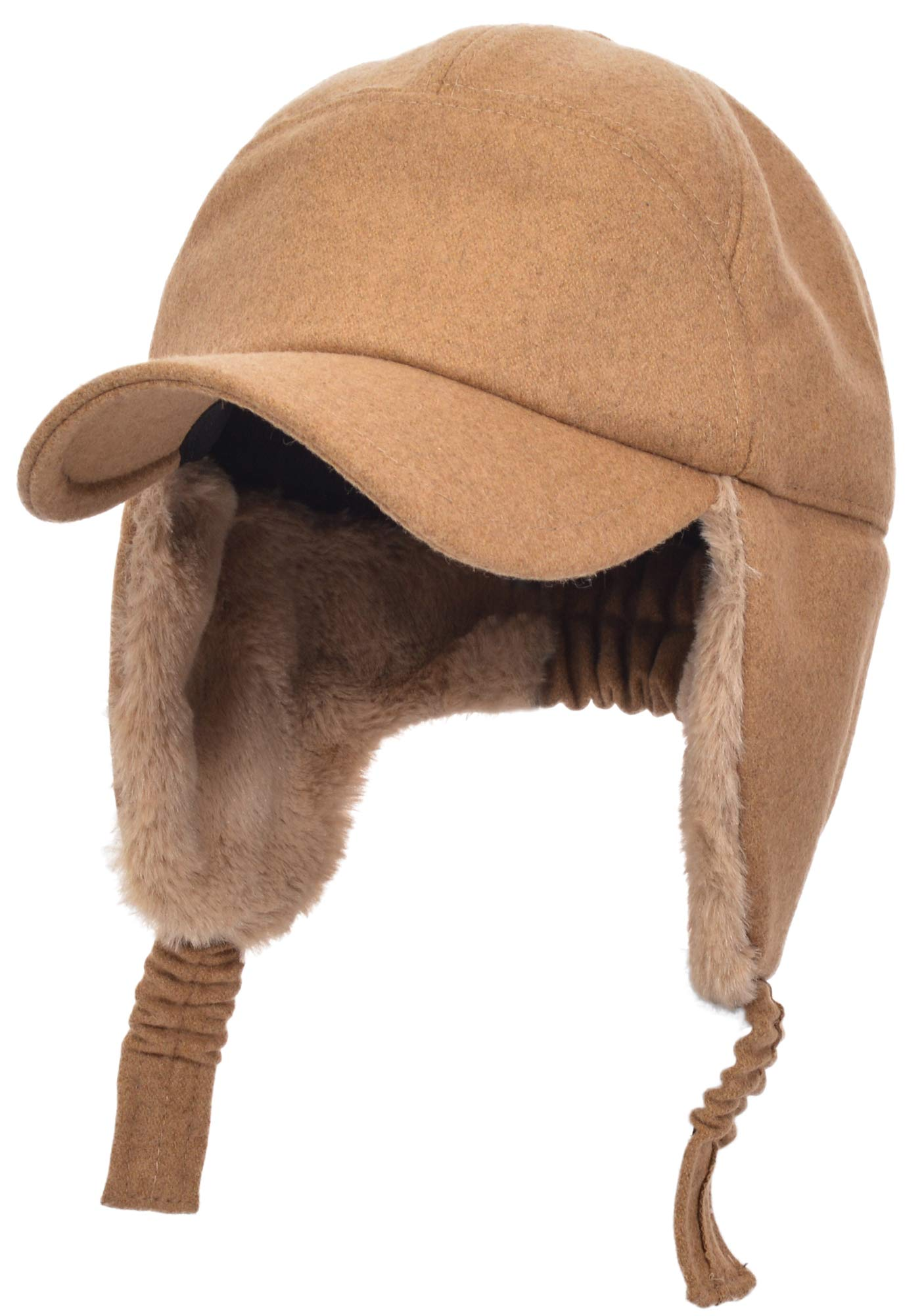 Womens Mens Winter Warm Premium Wool Woolen Peaked Baseball Cap With Faux Fur Fold Earmuffs Earflap Windproof Hat Visor Cap, Multicolor (Khaki)