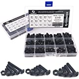 Comdox 500pcs M3 M4 M5 Button Head Hex Socket Cap Screws Bolts Nuts Assortment Kit with Box 10.9 Grade Alloy Steel Black…