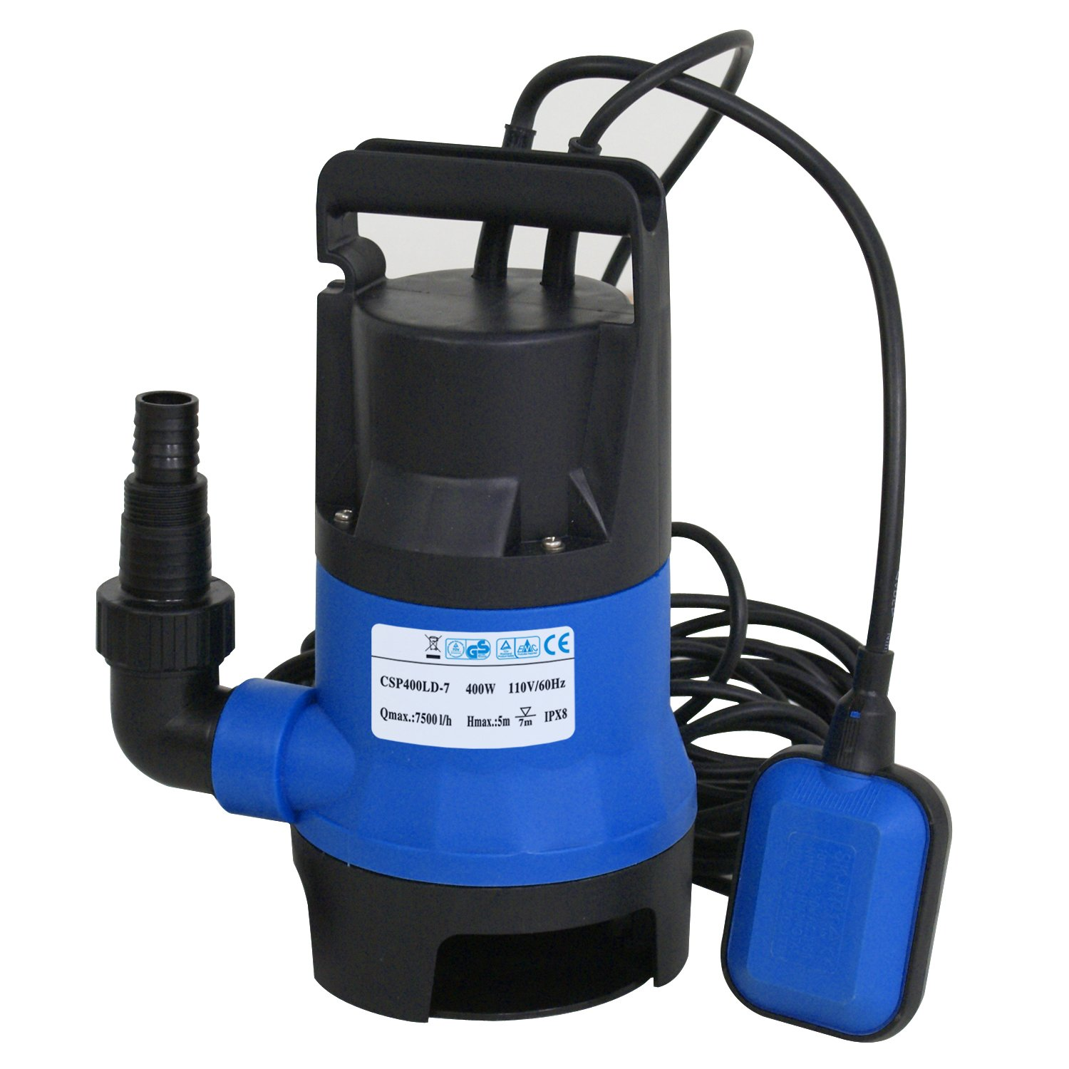 1/2 HP Submersible Sump Pump Clean/Dirty Water Pump 400W 2115GPH W/ 25ft Cable and Float Switch Pool Pond Flood Drain