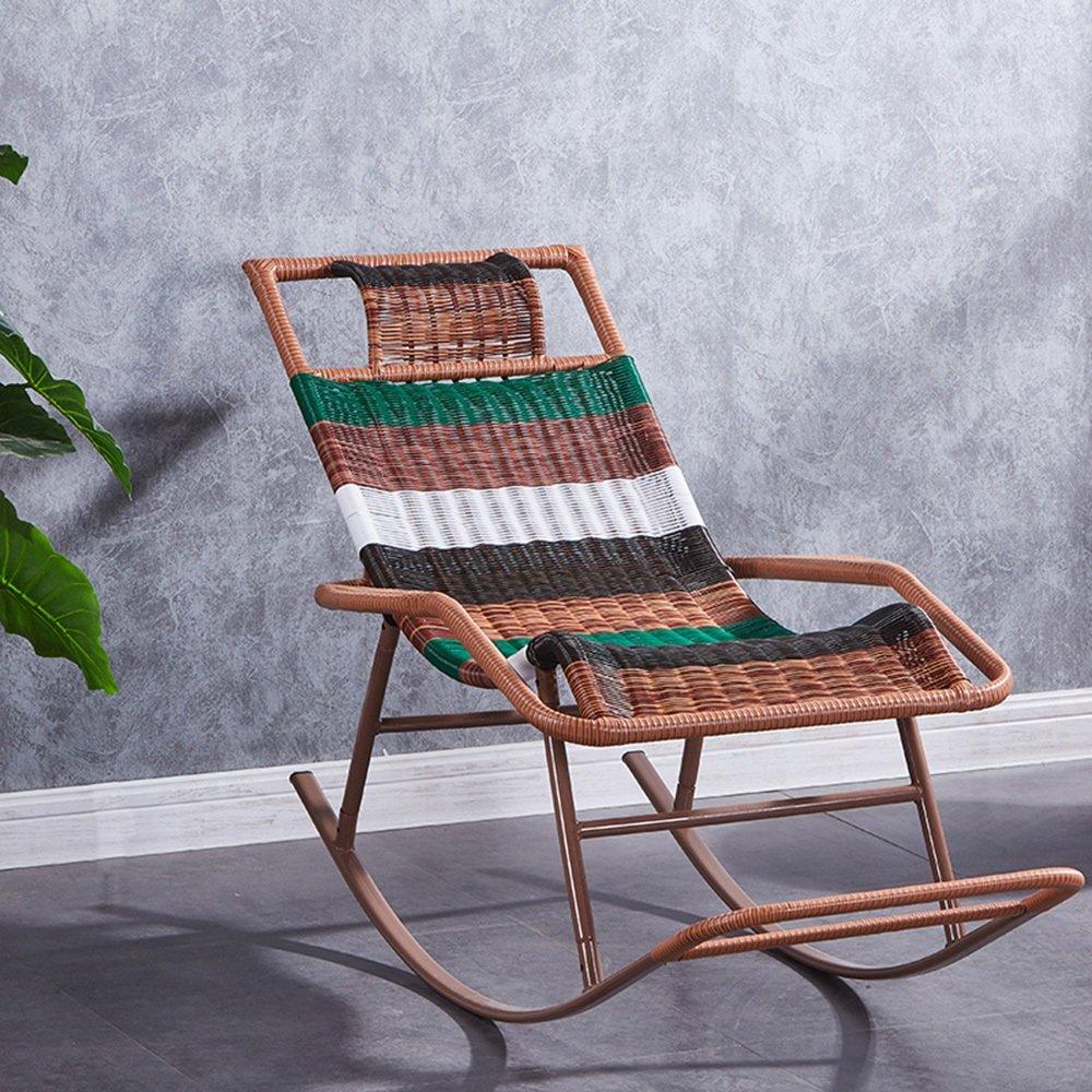 QFFL ロッキングチェアホームアダルトラタン怠惰な椅子高齢者レジャーロッキングチェア屋内シエスタラウンジチェア アウトドアスツール (色 : B) B07FD93P63  B