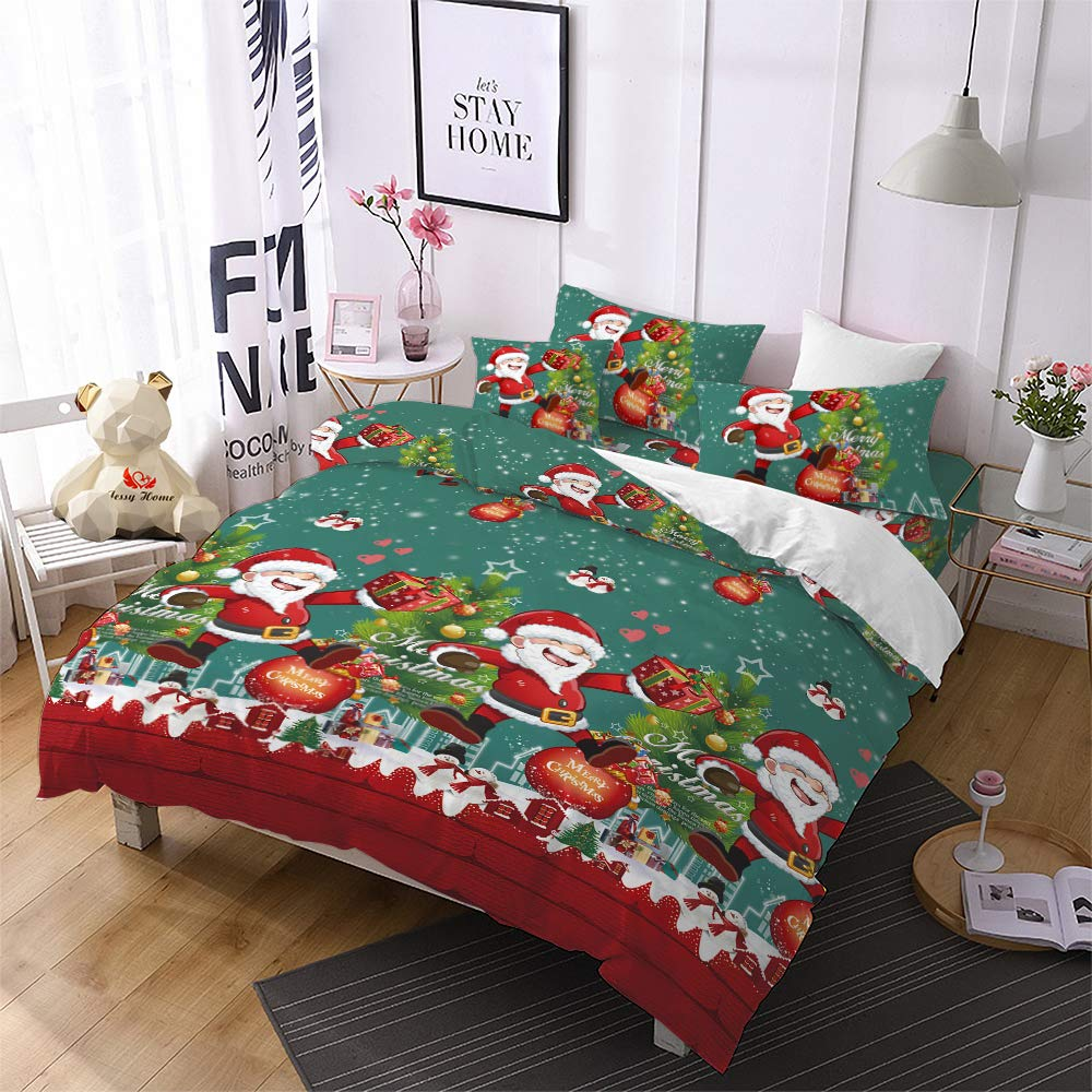 Christmas Duvet Cover Queen,3D Bedding Santa Cluas Home Decor Gifts for Girls Kids Quilt Cover Green by Jessy Home