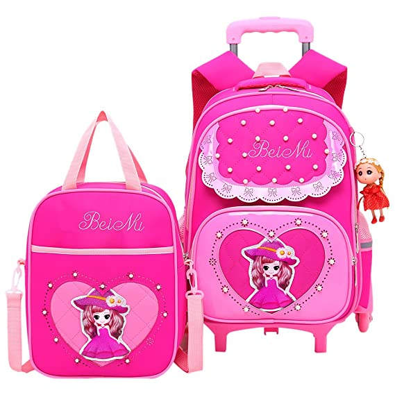 54f3c206e540 Image Unavailable. Image not available for. Colour  Zhhlaixing Breathable  Rolling Backpack for Girls Kids Backpack with Wheels Waterproof School Bag  Large ...