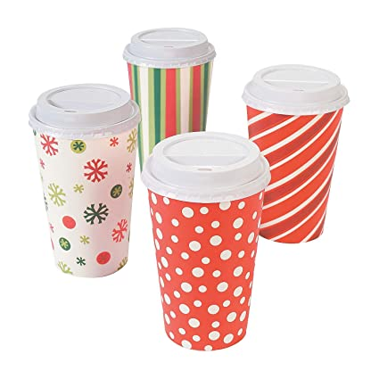 paper bright christmas insulated coffee cups 12 cups - Christmas Coffee Cups