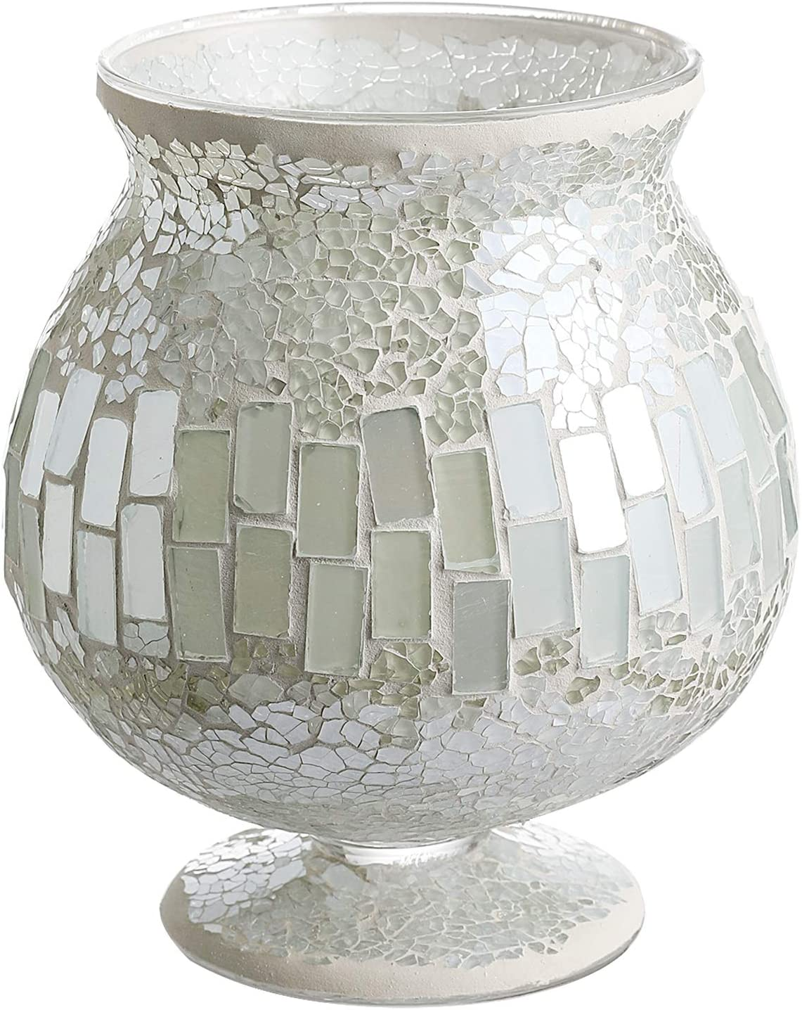 Whole Housewares 6.5 X 7 Inches Mosaic Glass Hurricane, Mosaic Glass Vase for Gifts & Home Decoration (White)