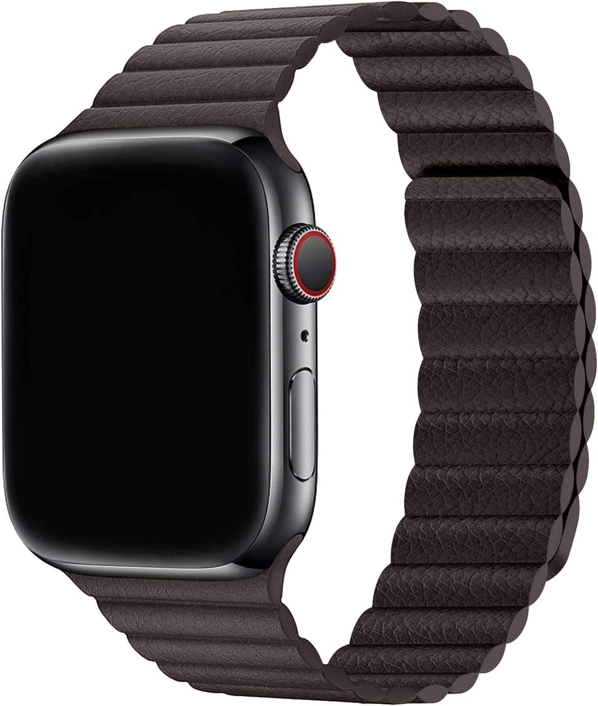 Firsteit Compatible with Apple Watch Leather Band 44mm 42mm 40mm 38mm Adjustable Loop Strap with Magnetic Closure for iWatch Series 6/5/4/3/2/1/SE (Coffee, 42mm/44mm)