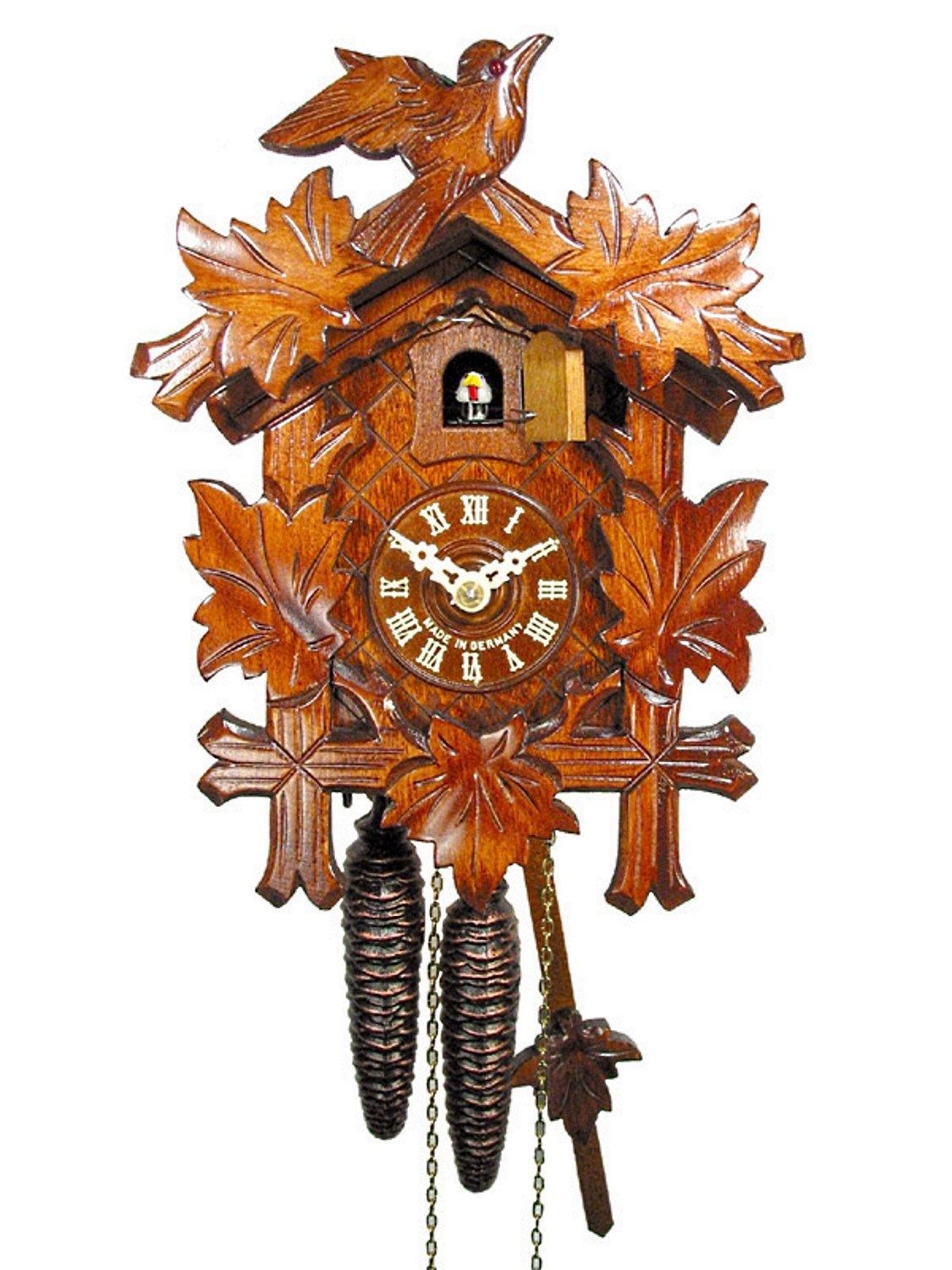 Original German cuckoo-clock (certified), mechanical 1-day movement with 1 bird and 5 leaves, coo-coo clocks from the Black-Forest, Germany by DV-Marketing, Schwarzwälder Kuckucksuhren by DV-Marketing, original Black Forest cuckoo clocks