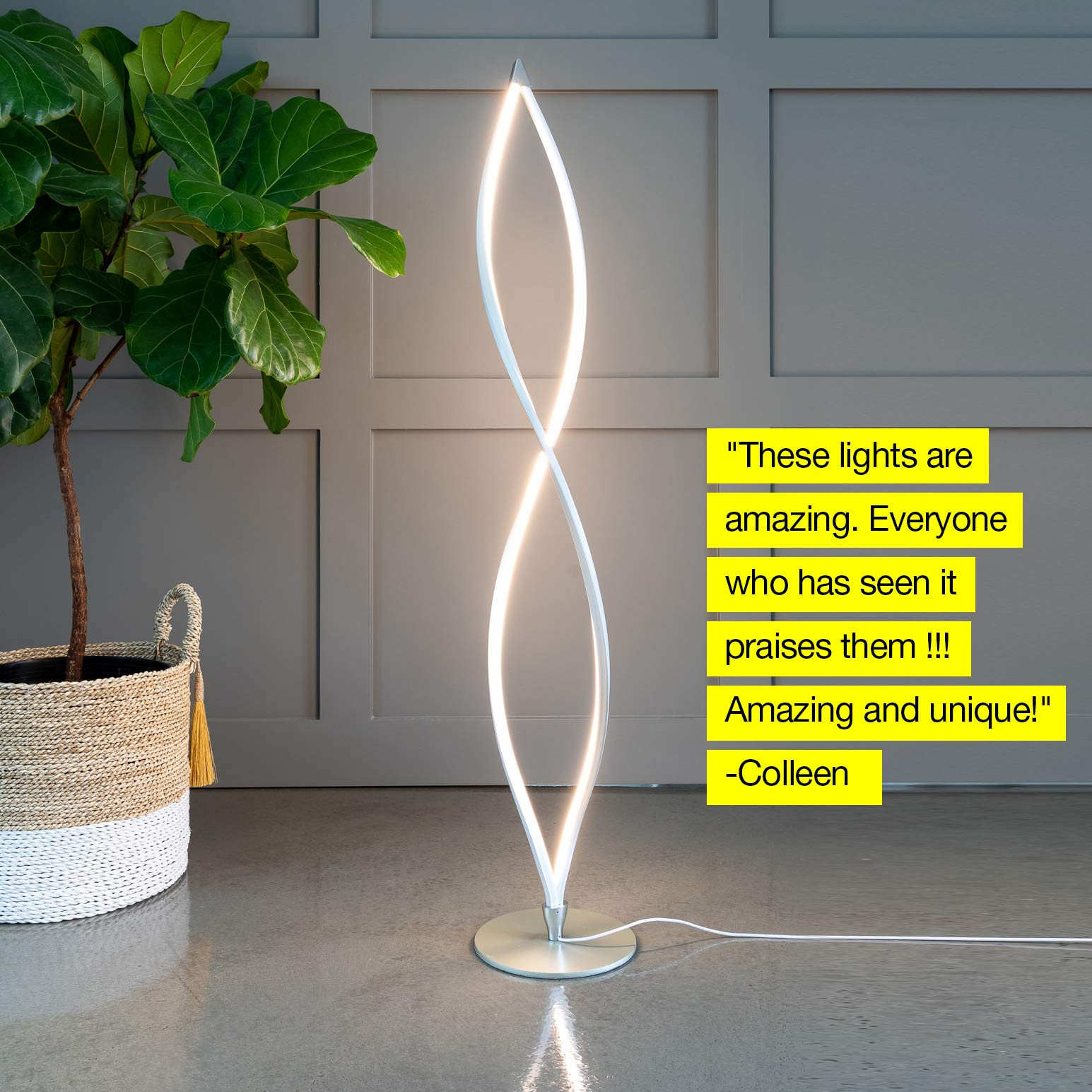 Brightech Twist - Modern LED Living Room Floor Lamp - Bright Contemporary Standing Light - Built in Dimmer Switch with 3 Brightness Settings - Cool, Futuristic Lighting - Silver by Brightech (Image #4)