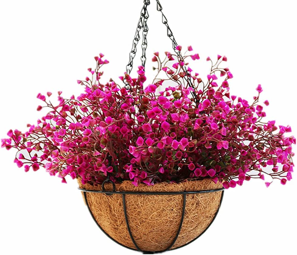 Mynse Lifelike Artificial Plant Indoor Fake Plant Outdoor Decoration Patio Lawn Garden Hanging Basket with Chain Flowerpot Purple with Red