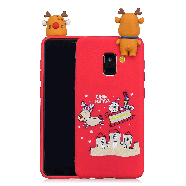 Noë l Coque pour Samsung Galaxy A6 2018, É tui Silicone Samsung A6 2018, Galaxy A6 2018 Case Cartoon 3D Mignonne Motif Christmas Noë l Flocon de Neige Housse de Protection Soft Case Étui Silicone Samsung A6 2018 Okssud DYY2018002511#05