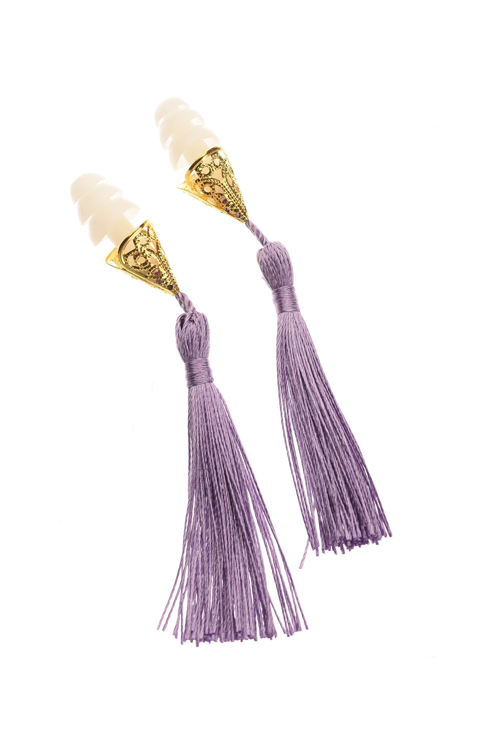 Breakfast at Tiffany's Inspired Tassel Earplugs in Lavender Holly Golightly