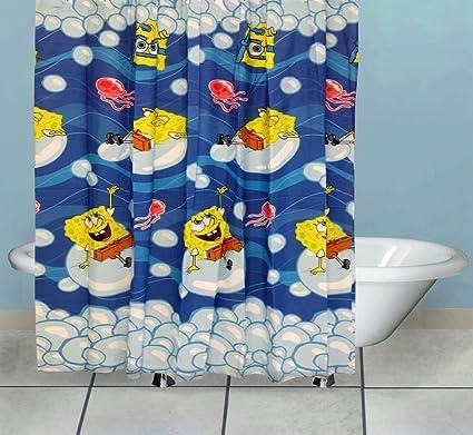 Spongebob Shower Curtain Bubblin Around Bath Accessories: Amazon.ca ...