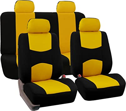 For Toyota New Sleek Black Flat Cloth Front and Rear Car Seat Covers Set