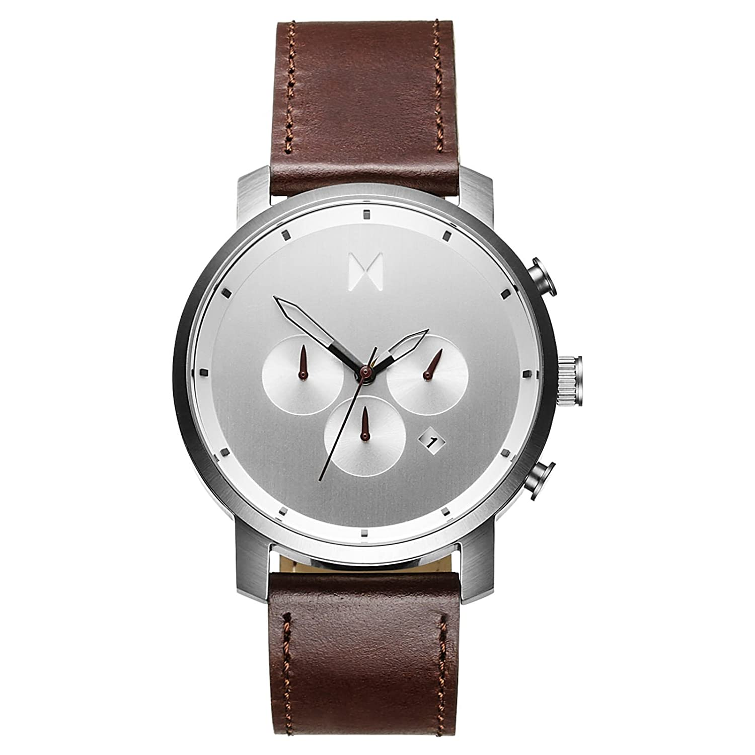 MVMT Watches Chrono Herren Uhr Silver-Brown Leather