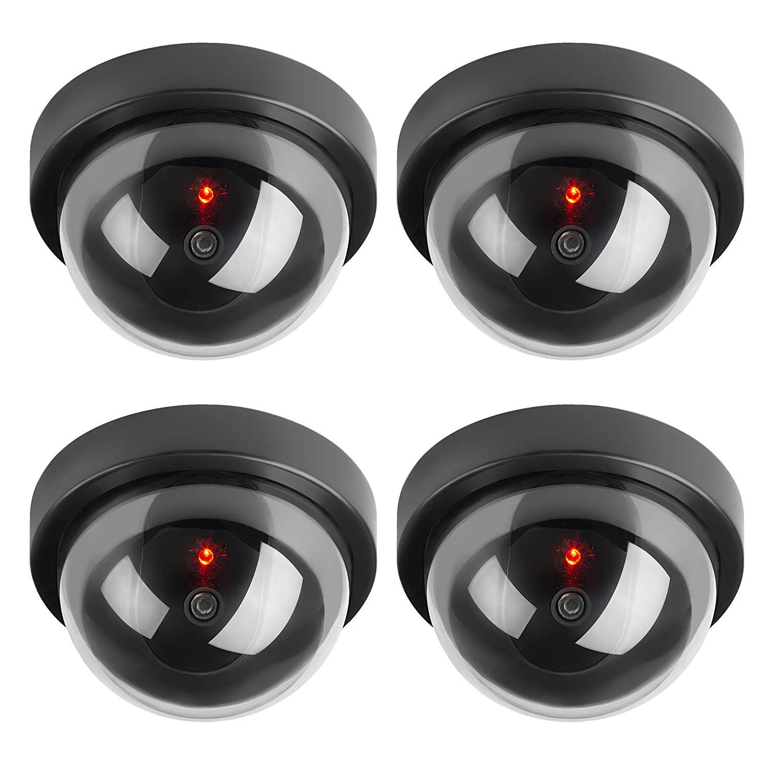 JOOAN Dummy Security Camera Indoor Dome Fake Security Camera Twinkle Red Led (4 Pack Dummy Camera)
