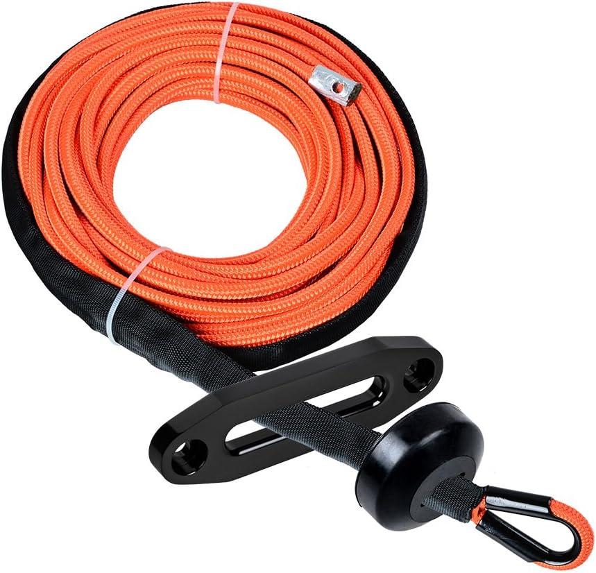 CNC Machined 6061 Aluminum Hawse Fairlead 1//4 x 50 Synthetic Winch Rope w//Heat Guard Black Rope Stopper Blue Hawse Fairlead, Yellow Rope