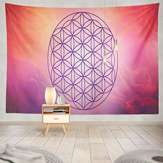 ONELZ Wall Hanging Tapestry Flower Life with Pink Nebula Symbol Spiritual and Spiritual Angel Decor Collection Bedroom Living Room 60 L X 80 W Polyester Polyester Blend