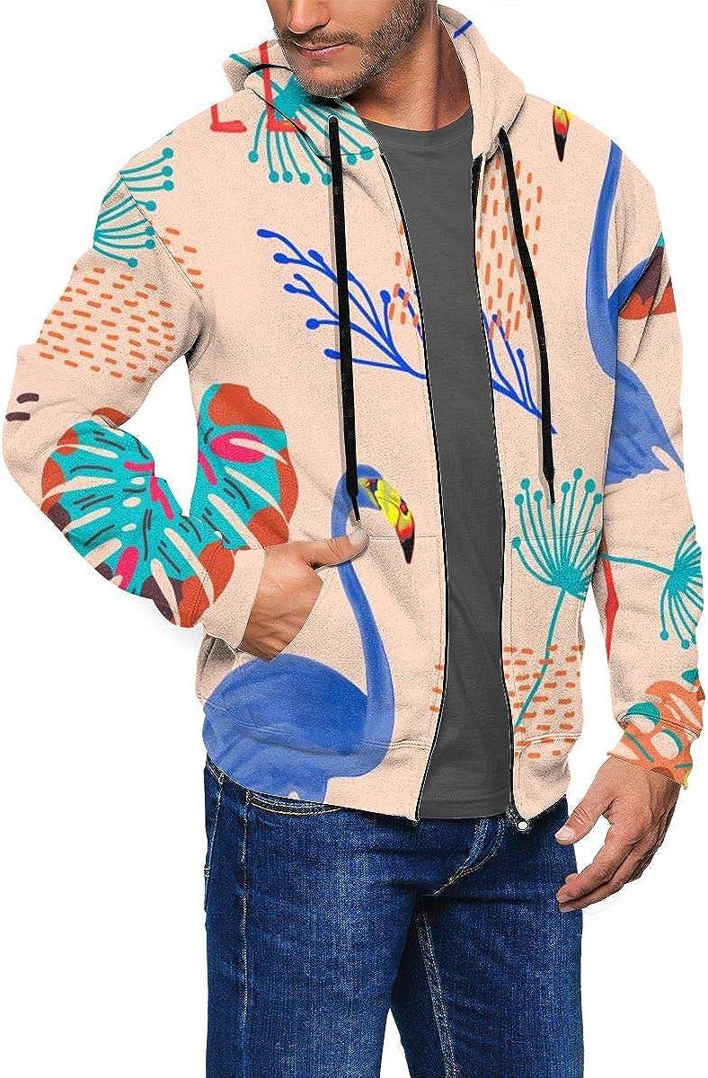 KAMQUERENCE Mens Zipper Hoodies Sweatshirt Long Sleeve Coat with Pockets Tropical Seamless Pattern