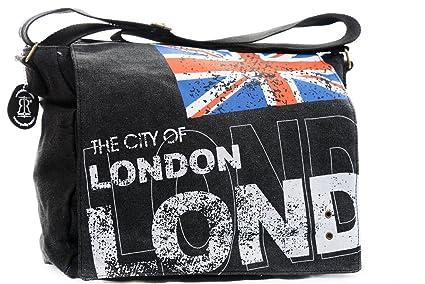Sac Union Jack en toile noir - Sac bandoulière scolaire drapeau anglais  (Noir) c67adc54b7e