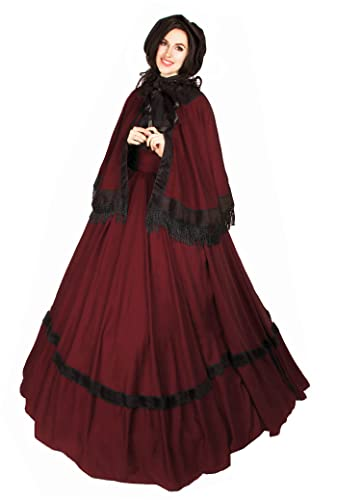 Reminisce Civil War reenactment Dickens Faire Victorian 3 Piece Cape Sash Dress (Cranberry),One Size