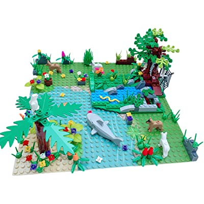 Yamix Garden Park Forest Building Block Toy Set, Botanical Plants Tree Flower River Animal Scenery Building Bricks Compatible with All Major Brands: Toys & Games
