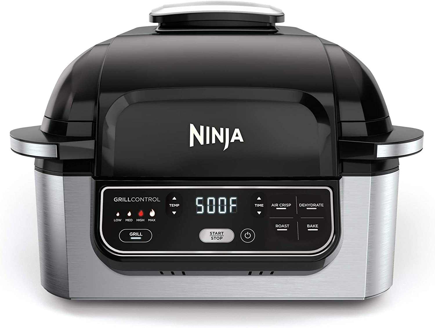 "Ninja Foodi 5-in-1 4-qt. Air Fryer, Roast, Bake, Dehydrate Indoor Electric Grill (AG301), 10"" x 10"", Black and Silver (Renewed)"