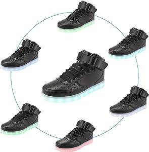 Padgene Unisex Zapatillas LED para Hombre Mujere con Luces (7 Colores) USB Carga Zapatos de Deporte: Amazon.es: Zapatos y complementos