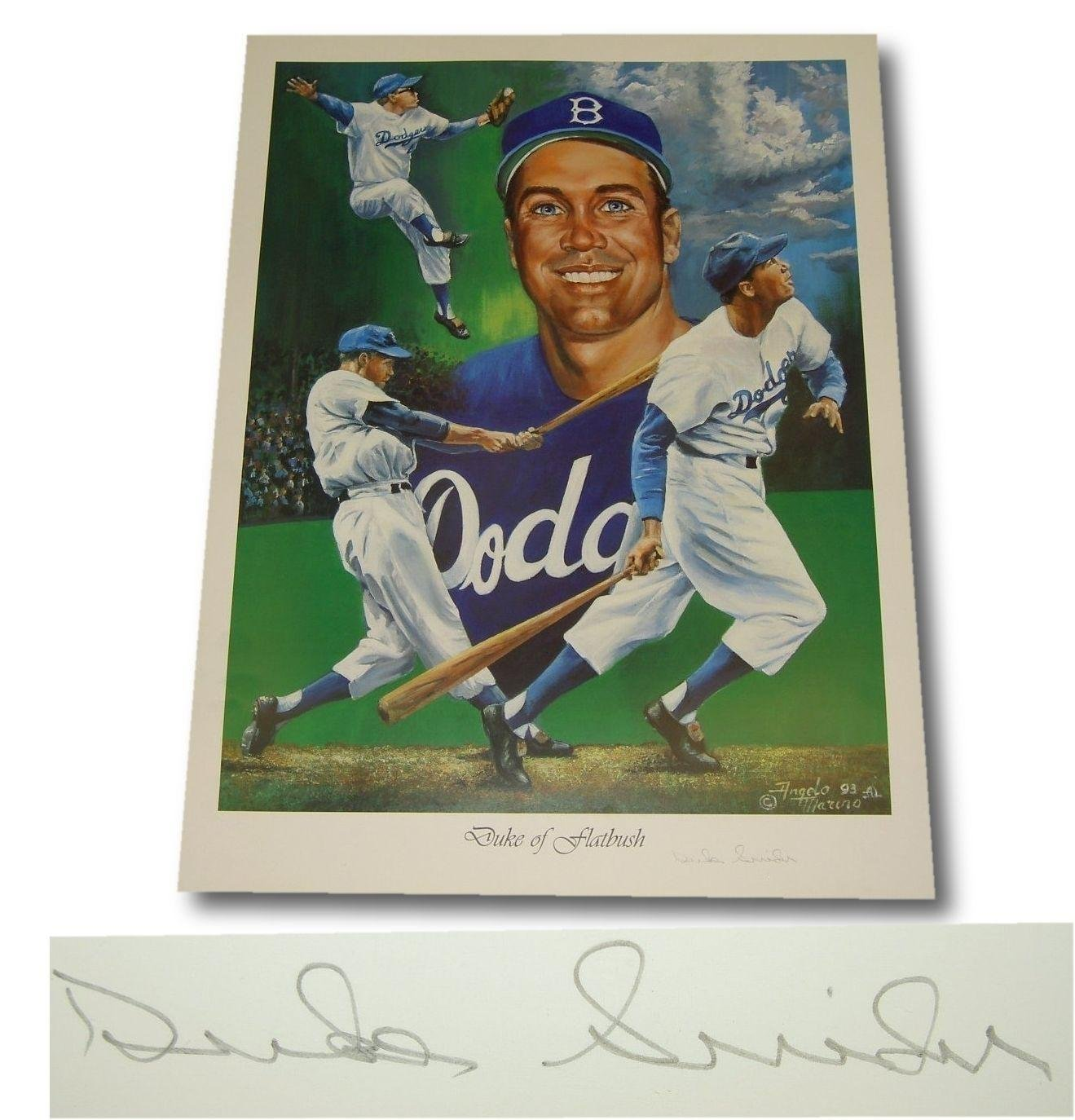 "Duke Snider Signed autographed 18x24 Lithograph Print of""The Duke of Flatbush Autographed MLB Art"