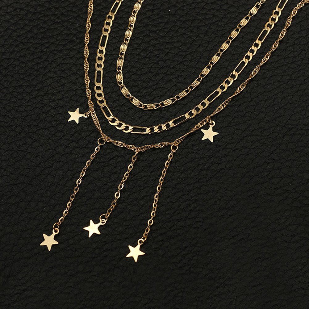 Gilroy Women Girls Necklace Multi-Layer Star Charm Pendant Choker Pendant Necklace