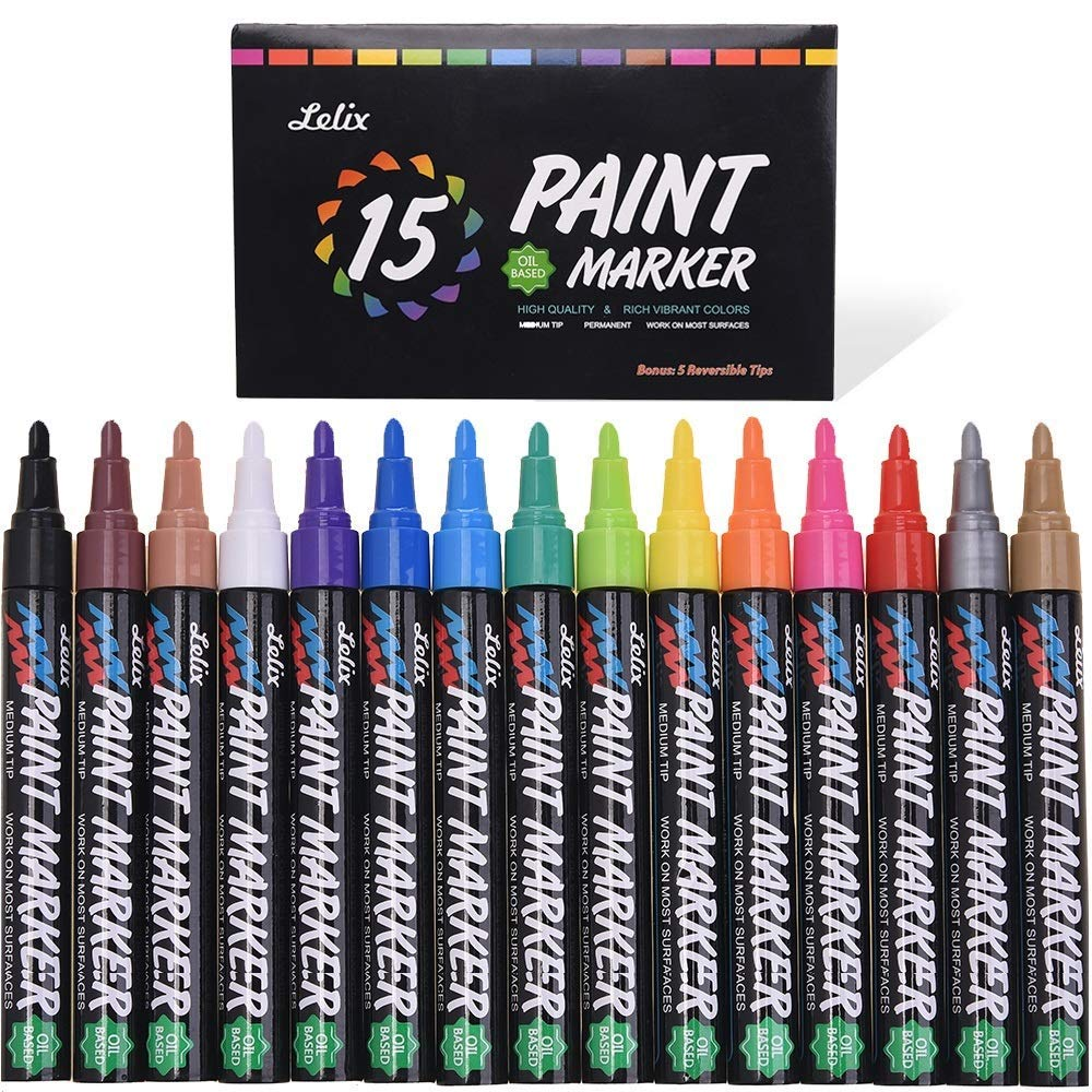 Paint Pens, Lelix 15 Pack Permanent Paint Markers for Rock Painting, Wood, Metal, Ceramic, Glass and Almost All Surfaces, Medium Tip with Quick Dry, Water Resistant Ink