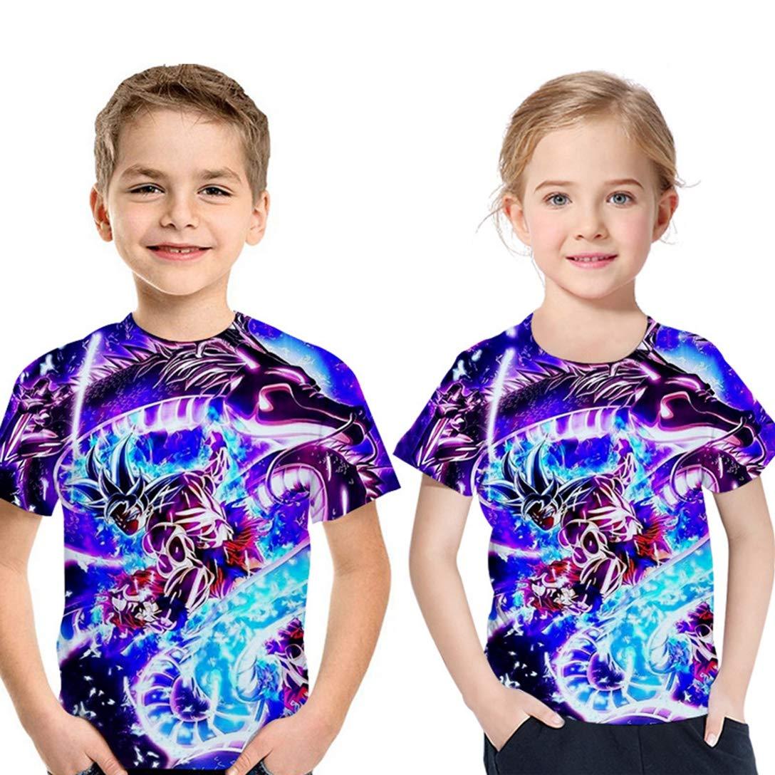 Abbigliamento Estivo per Bambini Girocollo A Maniche Corte 3D Digitale Anime Dragon Ball Serie Sun Wukong T-Shirt Stampata Casual Tops Unisex