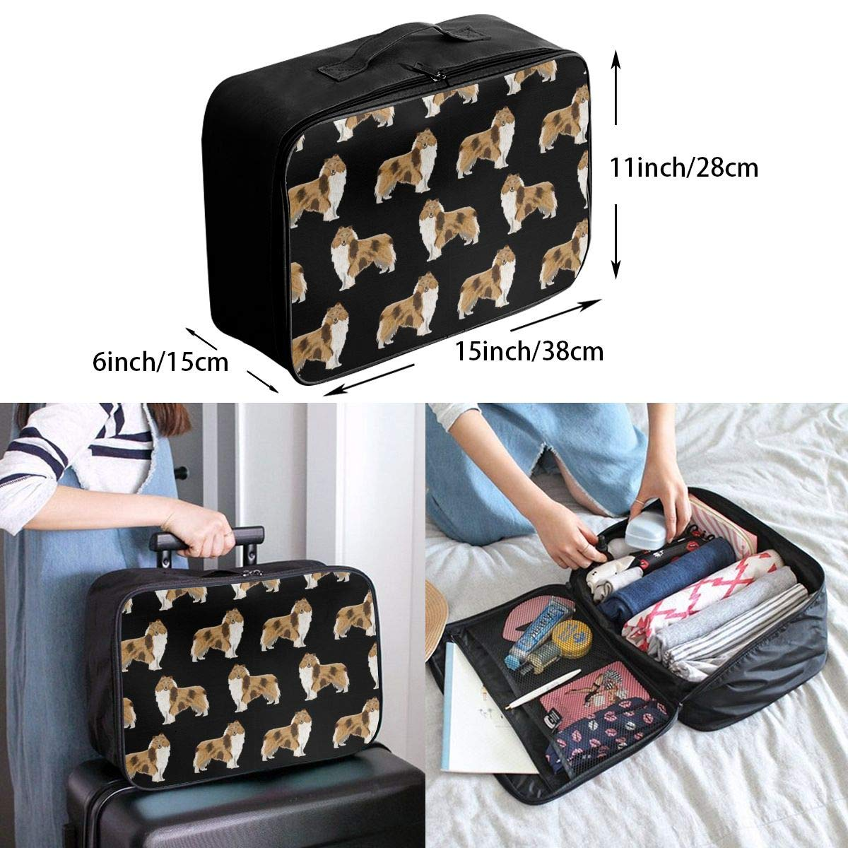 Women /& Men Foldable Travel Duffel Bag Rough Collie Dog For Luggage Gym Sports