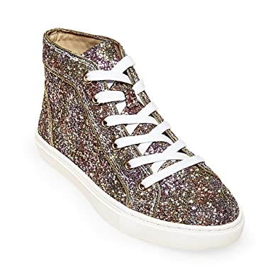 Steve Madden Womens Levels-G Glitter Fashion Sneakers Multi 5.5 Medium (B,M