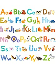 DECOWALL DW-1608S Watercolour Animal Alphabet Kids Wall Stickers Wall Decals Peel and Stick Removable Wall Stickers for Kids Nursery Bedroom Living Room