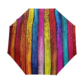 8fc6c12ce880 Amazon.com: Umbrella Wood Texture Rainbow Colors Golf Travel Sun ...