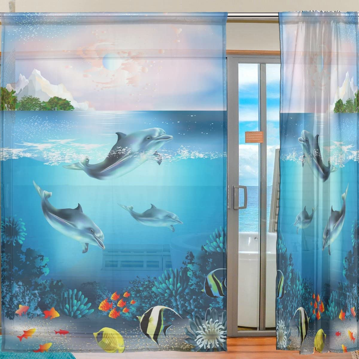 SEULIFE Window Sheer Curtain Ocean Sea Animal Dolphin Fish Voile Curtain Drapes for Door Kitchen Living Room Bedroom 55x78 inches 2 Panels