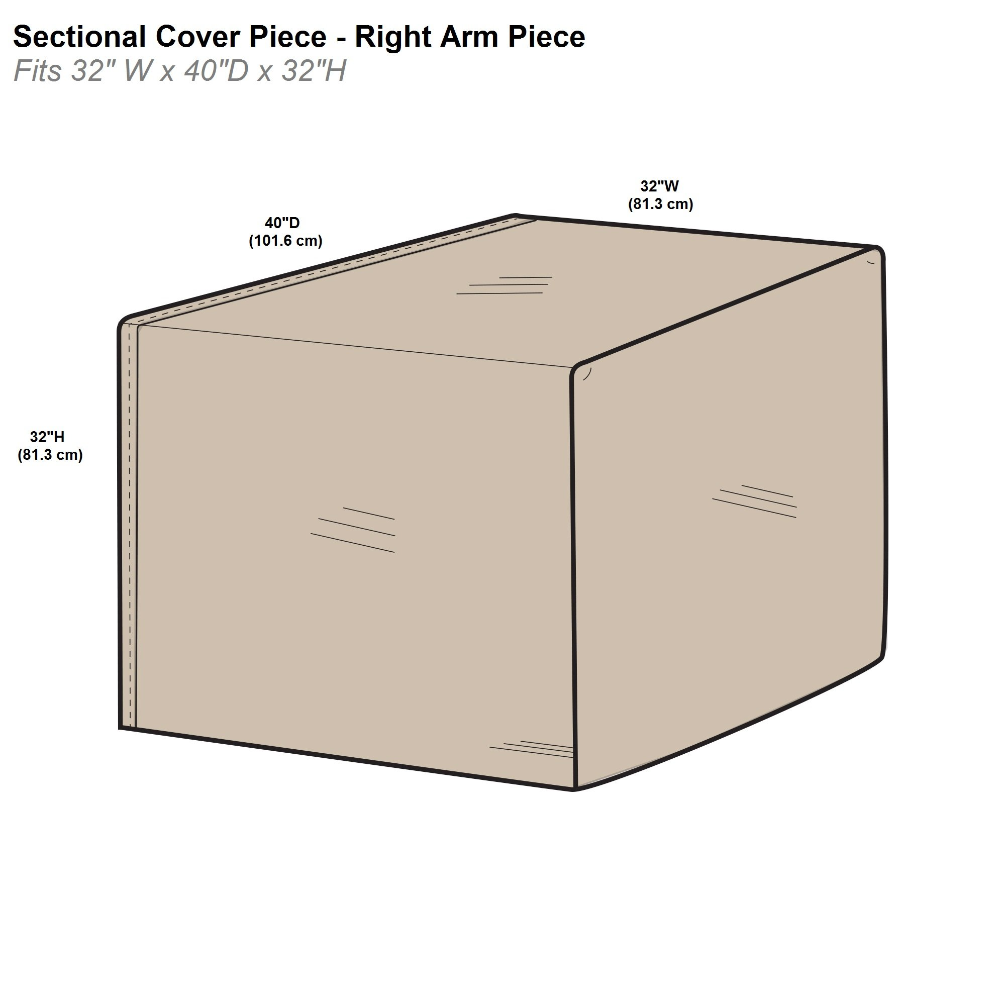 Protective Covers Inc. Modular Sectional Sofa Cover, Right Arm Piece, 32''W x 40''D x 32''H, Tan