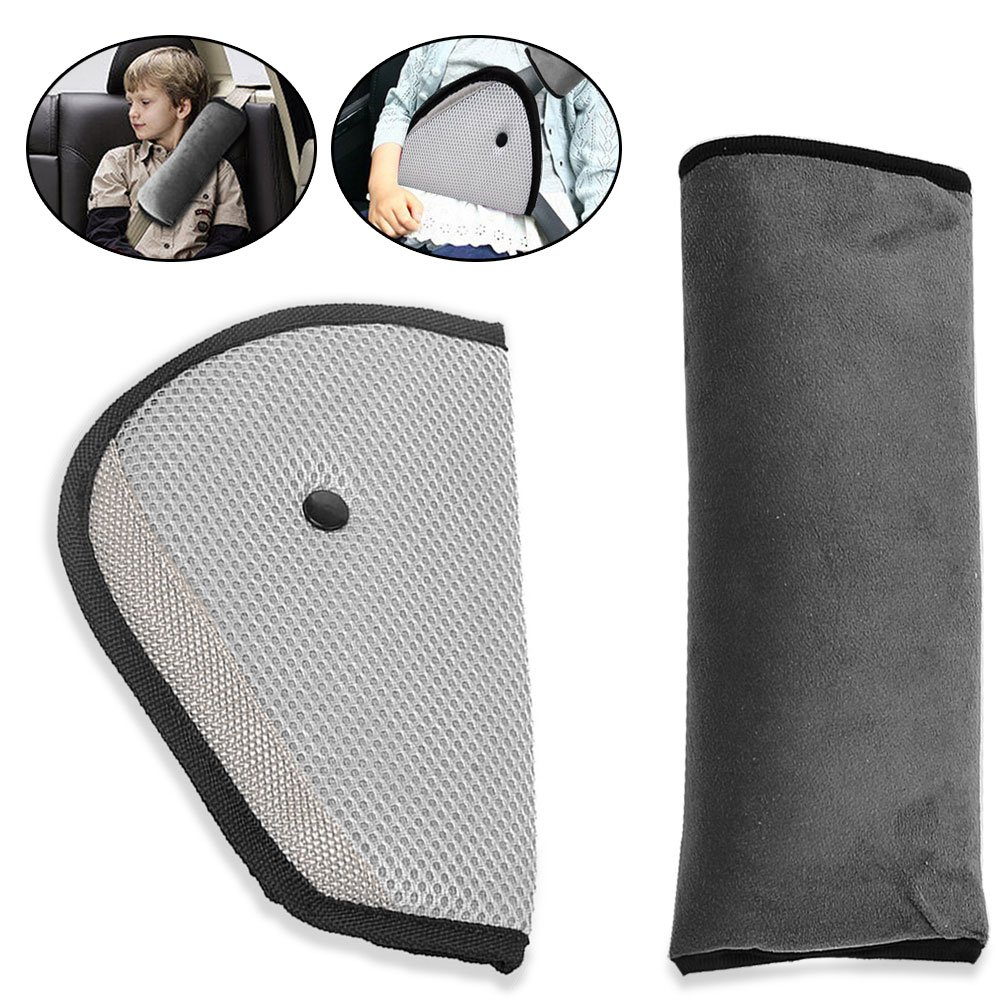 Car Seat Belt Covers, KKtick Belt Strap Cover Headrest Neck Support with Adjust Car Safety Cover Strap for Children Baby Adult ( Grey)