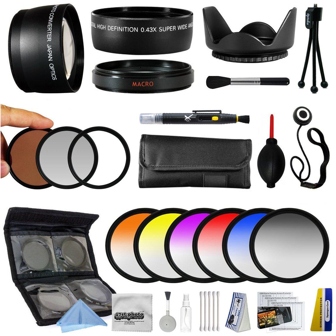 25ピース先進レンズパッケージ Sony Alpha NEX-6 NEX-7 NEX-3N NEX-5T NEX-5R ミラーレスデジタルカメラ用 0.43X HD2 広角パノラママクロ魚眼レンズ + 2.2x HD AF 望遠レンズ + 3ピースプロフィルターキット (UV、CPL、FLD) + 6ピースのマルチカラーグラデーションフィルターセット + 5点クローズアップセット + 1、+2、+4 10倍マクロレンズ付き+ペン型レンズ+5点のレンズ+デラックスレンズレンズレンズ+。   B00JDNWHEW